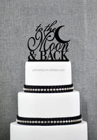 Cheap Modern Acrylic Wedding Cake Topper theme party supplies - to the moon & back