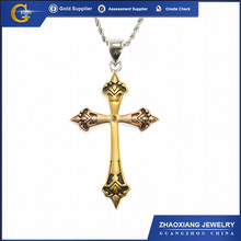 Stainless Steel Christian Cross Religious Pendant & Charm Double Color RPC0337
