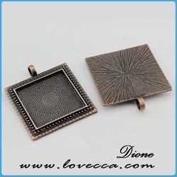 silver rectangle cabochon setting pendants fit 20x11mm cameo /diamond pendant settings