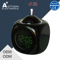 2015 Hottest Nice Quality Logo Printed Projection Projector Am/Fm Alarm Clock