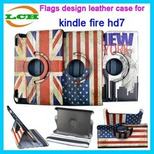 """Shockproof with flags design rotate leather flip case for kindle fire hd 7"""" 2014 for kids"""