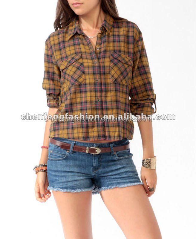 Chefon women oversized slit back plaid shirts cb0120 buy for Oversized plaid shirt womens