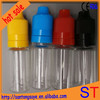10MLFDA certificate Various corcol cap 2015 new plastic smoke oil dropper bottle with different colored caps