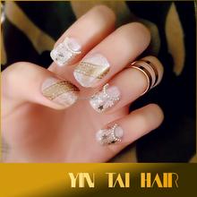 False Nails French Manicure Gold stars Fake Full Cover Medium Tips UK 22pcs/box DIY Kits False Nails Art Tips