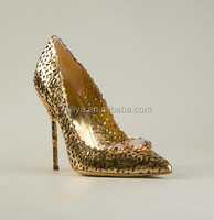 Gold leather engrave hollow out women high heel pumps shoes sexy evening party shoes for ladies