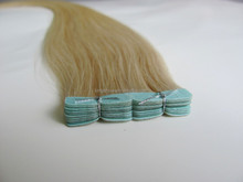 Blonde eurasian human double sided tape hair extensions with three gaps