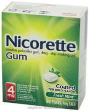 Box packaged nicotine chewing gum,chewing gum with tobacco