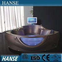 HS-B258 indoor couple sexy massage corner jet whirlpool bathtub with tv