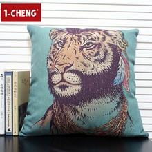 Cotton Cushion Coloured Drawing Pillow Case Home Sofa Decorative Cushion Cover Car Pillow