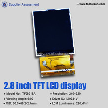 Competitive price Topfoison 4Leds 2.8inch LCD touch display screen for Consumer Electronics TF28018A