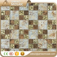 Special Interior Wall Design Copper And Light Gold Diamond Mosaic