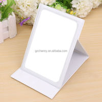 Leather Covered Portable Folding Lady Girl Makeup Mirrors Convenient Travel Compact Pocket Hand Mirror Cosmetic