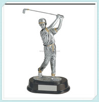 Silver and gold resin male golf statue