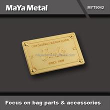 MaYa Metal custom yourself logo nickel color metal coat label tags