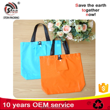 Custom logo fashion polyester nylon foldable shopping tote bag with pouch pocket for promotion