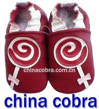 diseño de lolly suave suela de cuero genuino zapatos de bebé de alta calidad