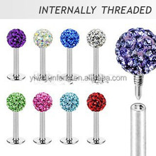 Ferido Crystal Top Internally Threaded Labret Labret Stud Lip Piercing diamond