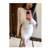 Women's Spring / Summer 2015 trade assurance white color ladies suits lace design lace skirts and blouse slim fit