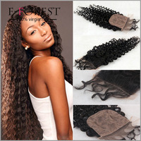 7A Cheap Silk Base Closure Virgin Brazilian Human Hair Silk Closure 4*4 Deep Curly Silk Top Lace Closure Bleached Knots Hot Sale