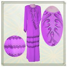 bordado à mão e pedras de última moda vestido de muçulmano
