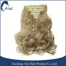 Factory sell cheap hairpieces curly blonde one piece full head clip in hair extensions