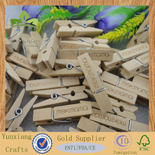 35mm small cloth wood peg with engraved laser logo