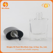 wholesale custom 8.3ml square glass empty nail polish bottle with uv metallic silver square cap