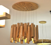 christmas ornaments interior decoration natural wood commercial led pendant lighting