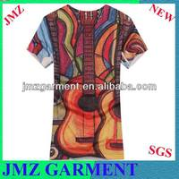 v neck t shirts,slim fit t shirt,short sleeve t-shirt with guitar printing
