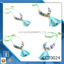 Girl's Turquoise + Gold Geo-Cube wooden chunky beaded tassel Glitter Necklace CCT0024
