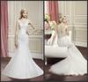 2015 Fashion mermaid wedding dresses sexy v-neck white lace court train button back sleeveless wedding dress vestido de novia