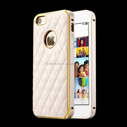 Factory Price Genium Leather phone case for iphone 5s Metal Frame case for apple 5s