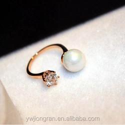 Elegant pearl simple diamond gold ring design for lady