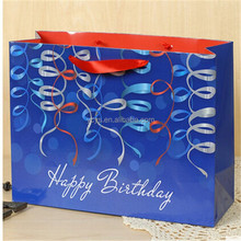 Yiwu factory manufacture happy birthday paper gift bags with colored ribbons print