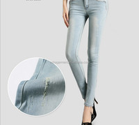 2015 new design spring/autumn sexy fashion women jeans factory high quality light blue hole jeans pent