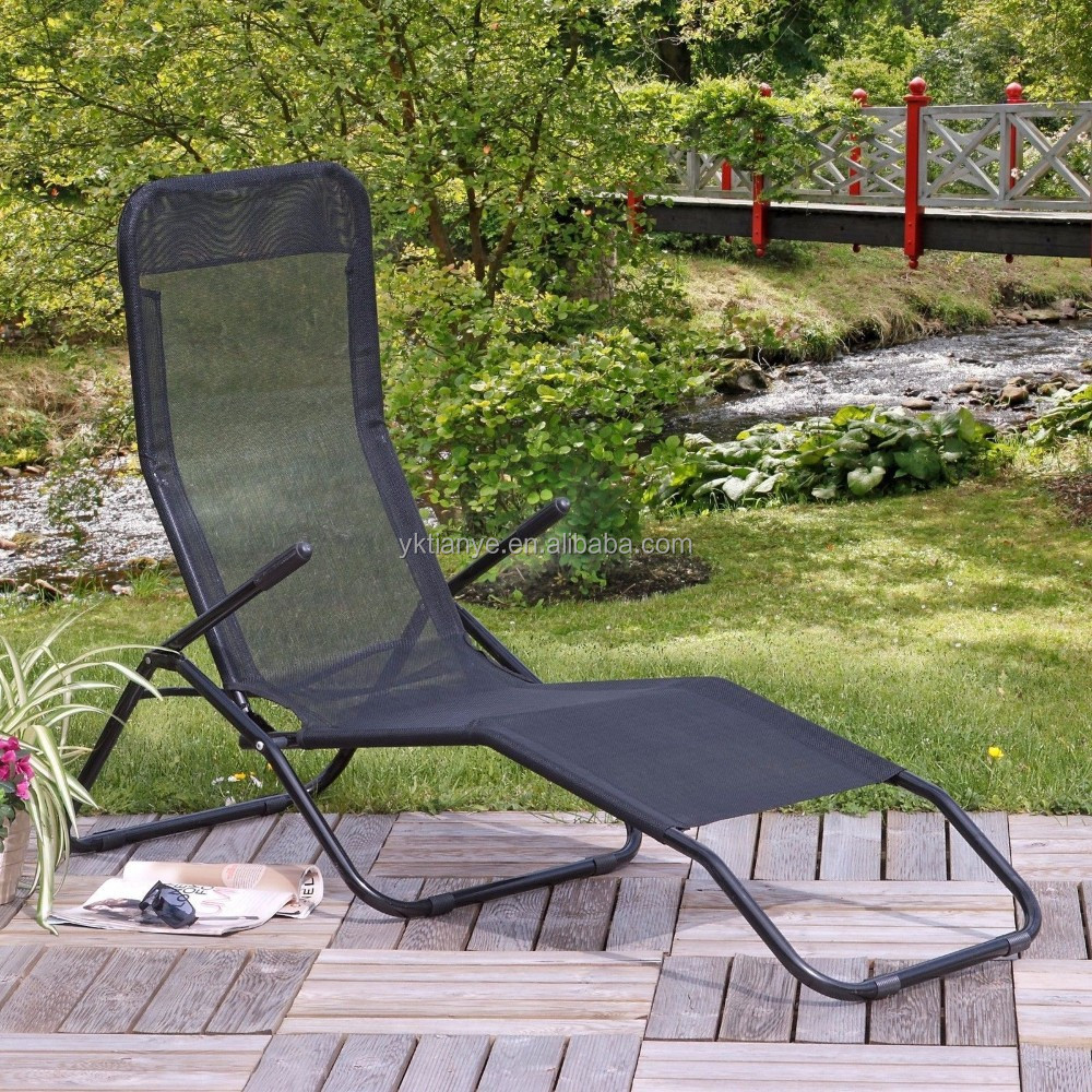 Patio chaise lounge chair outdoor black pool beach for Black outdoor chaise lounge