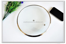 38cm G type microwave glass cover with stainlaess steel ring
