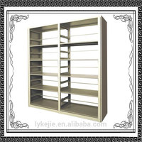 double side book storage steel bookshelf for library and school reading room MDF Side Panel Steel Library Book Rack Shelving