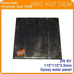 2W 6V Monocrystalline Customized Small Size Square Epoxy Solar Panel for Toy, LED Light, Charger