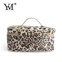 2015 New design Leopard PU fashion cosmetic bag with handle