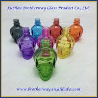 Large quantity stock colorful skull head e-liquid glass dropper bottle with screw dropper cap