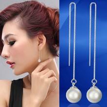 moda singola perla lunga scatola bella catena ultimo designer ispirato orecchini per le ragazze carine - fashion-single-pearl-long-box-chain-nice.jpg_220x220