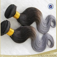 100%human brazilian hair weave two tone ombre gray hair weave silver hair extensions
