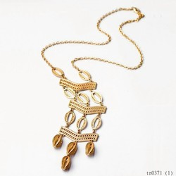 Gold Layered Hollow Out Long Chain Custume Necklace