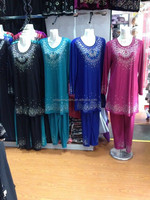 AB037 latest 2015 ladies' muslim clothes, top and pants