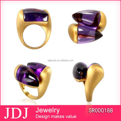 Mid-east saudi gold jewelry fashion big stone ring cheap price cool design