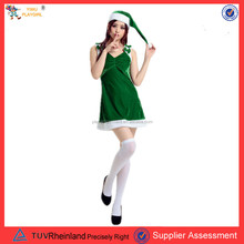 PGWC-1265 Hot-selling girls dress costume for christmas beauty green sexy girl santa costumes