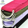 Fabric density 100% cotton organic yoga pilates strap belt band with plastic rings