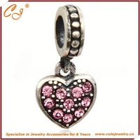 10mm Hole Silver Charm, Pink Heart Pendant Shape Silver Bead