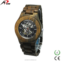 High quality penetrate movement wooden watch mechanical skelekon automatic watch